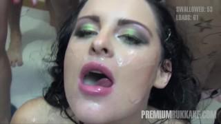 Premium Bukkake – Lola swallows 51 huge mouthful cum loads